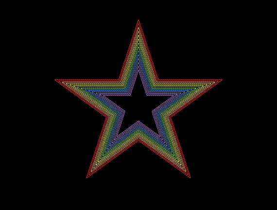 Simple rainbow star embroidery machine design