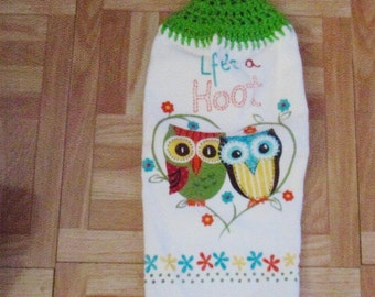 Crocheted  hang  towels-GIVE A HOOT OWL