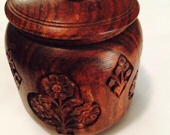 Vintage Wooden Floral Jar