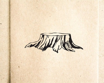 Tree Stump Rubber Stamp - 2x2 Inches