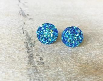 Blue Green Shimmer Druzy Earring Posts - 12mm Blue Green Druzy -Titanium Studs- Sensitive Ears