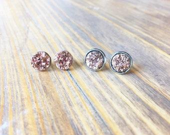 Metallic Bronze Druzy Earring Posts - 10mm Bronze Druzy -Titanium Studs- Sensitive Ears
