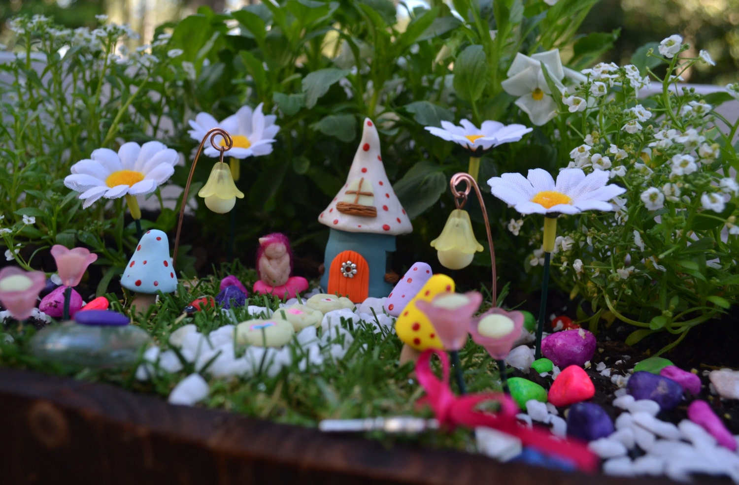 spotted house kit miniature fairy garden by pinkydinkydesigns