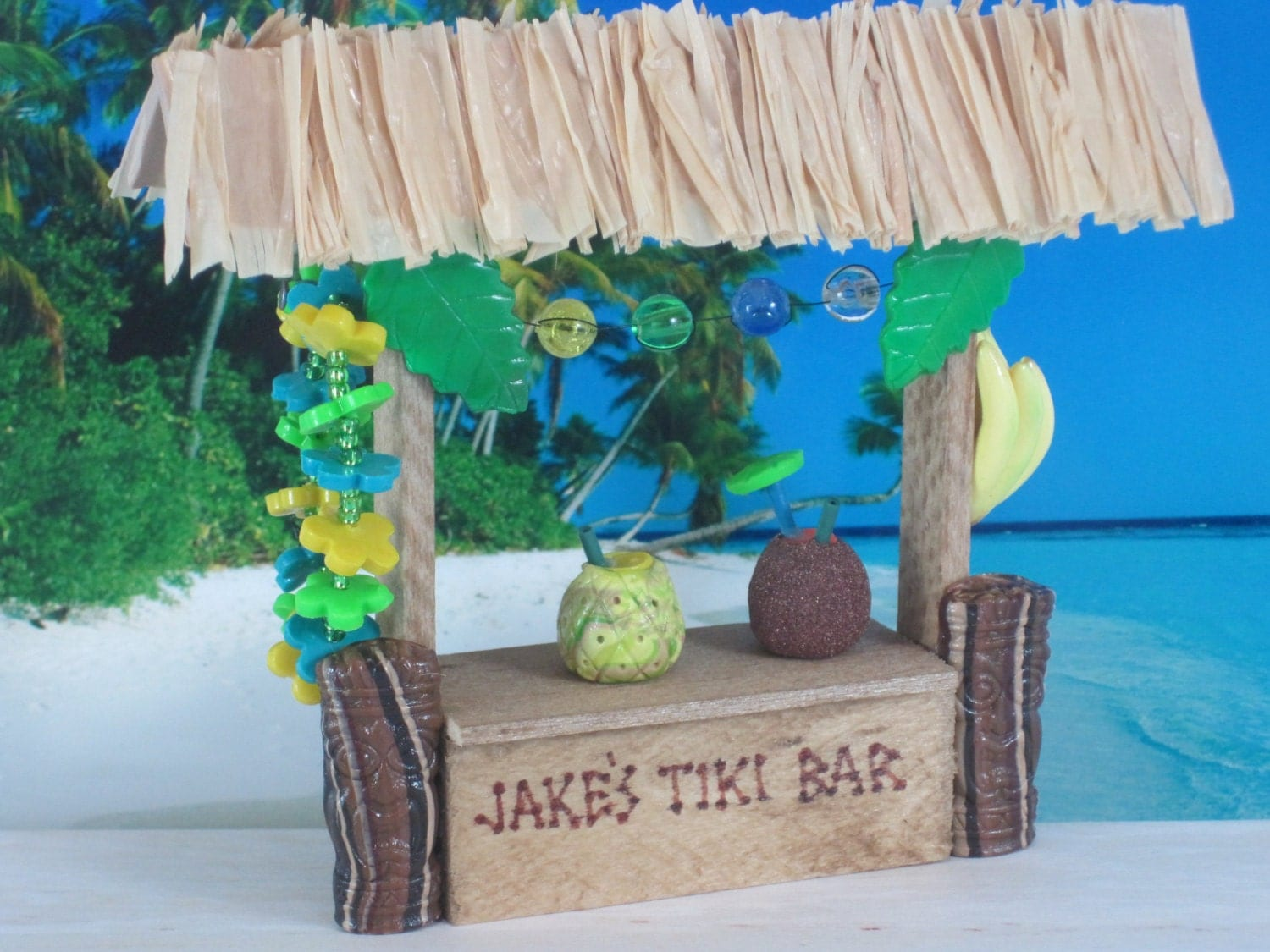 Tiki Bar For Tropical Fairy Garden Or Cake Topper Ooak