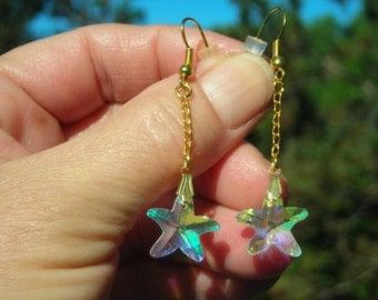 15% DISCOUNT!! Swarovski aurora borealis CRYSTAL STAR beaded dangle earrings!
