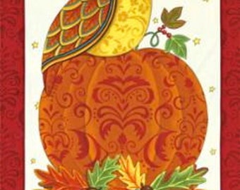 Forest Fancy Panel, Owl and Pumpkin by Deb Strain for Moda 19710 12