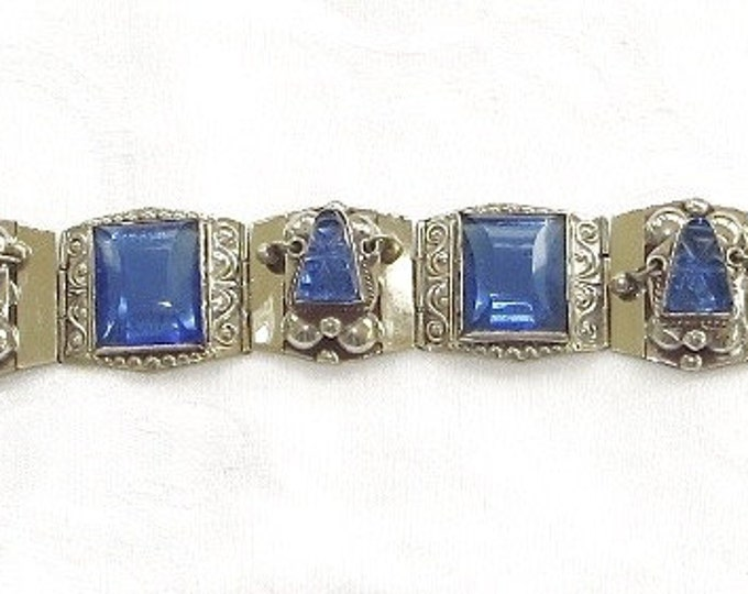 Vintage Sterling Bracelet Aztec Mask Cobalt Taxco Mexican Silver Mexico Sterling