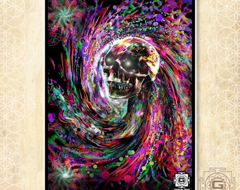 Ebb and Flow -prints , a3 a4 a5 sizes.death,life,skull,alive,sacred,visions,third eye,particles,ether,undead