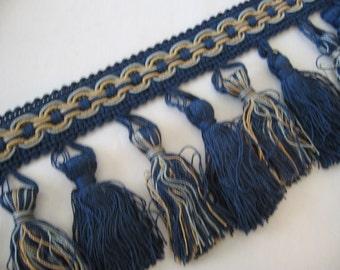 "Tassel Fringe Trim in Midnight Blue, Antique Gold, Lt Blue - 3.75"" wide"
