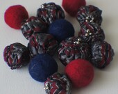 Felt Beads, Extra large Beads, Blue, Grey and Red and Yellow shades Beads, Felt Balls Felt Beads Felted Balls Wool Beads, Round