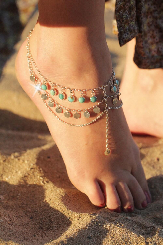 Boho chic foot chain Boho Jewelry Turquoise Jewelry