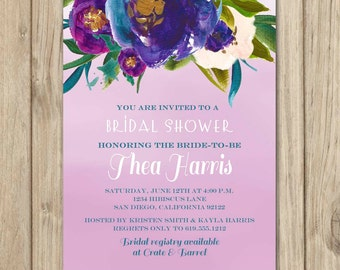 Bridal Shower Invitation, Wedding Shower Invitation, Ombre Invitation, Purple Invitation, Floral Invitation, Flowers - Thea