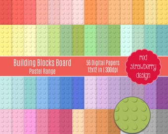 75% OFF Sale - 56 Digital Papers -Building Blocks Board Pastel Range - Instant Download - JPG 12x12 (DP246)