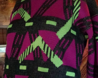 Vintage 1980's neon geometric sweater