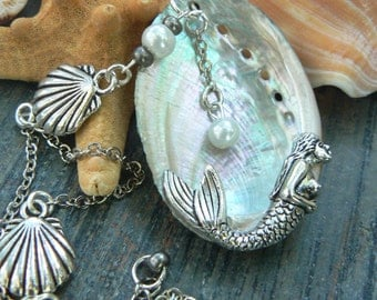 mermaid necklace mothers day gift abalone  Statement necklace abalone pendant  paua necklace resort wear cruise wear necklace
