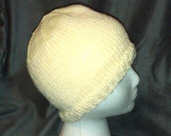 Hand Knit Off-White Beanie