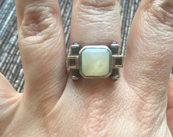Super Unique 14k Gold Sterling Silver Mother Of Pearl & Amethyst Ring Size 6.25