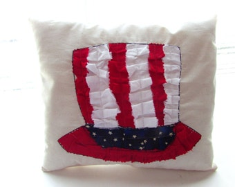Patriotic hat pillow, July 4th scrap fabric pillow, Holiday Red White & Blue pillow, July Fourth Hat pillow, American Flag pillow