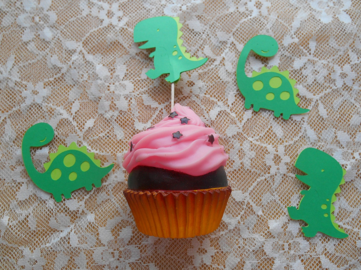 12 Dinosaur Cupcake Toppers In Your Choice Of Colors