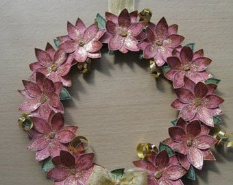 Hand Decorated Mdf Christmas Glittered Poinsettia Floral Wreath 20cm **Free P&P**