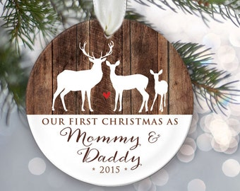 New Parent Ornament, Our First Christmas as Mommy & Daddy, Family Ornament, New Mom Gift, New Dad Ornament, Buck Doe Fawn Deer OR323