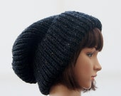 Extra Large Chunky knit Beanie Hat in Slate/ Beanie Hat/ Winter Hat/ Warm Hat