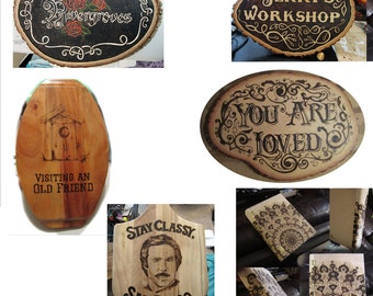 Custom and Comissioned Wood Burning and Carving