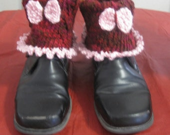 Pink Bow Hand Knit Boot Cuffs