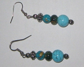 Turquoise, Green, Aqua Silvertone Earrings