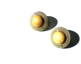 Vintage Faux Gold Marble Earrings