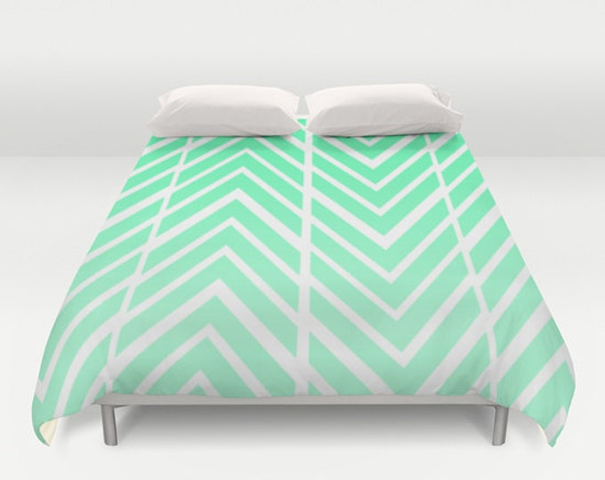 Mint Green Arrows - Bed Spread - Duvet Cover -  Mint Green and White - Bed Cover -  Duvet Cover Only - Bedding - Made to Order