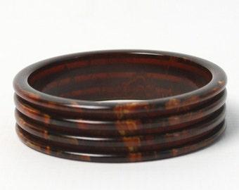 1930s Marbled Brown Bakelite Bangle | 30s Groove Carved Bakelite Bracelet