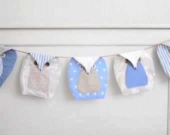 blue owls Bunting (5), Owls Garland, Owls Nursery Bunting - Blue, beige and white