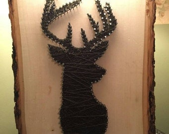 "11x14"" Brown Deer String Art on Tree Bark Plaque"