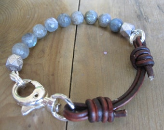 Faceted Labradorite Leather Bracelet
