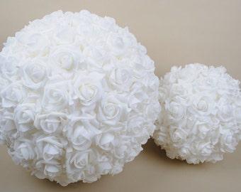 "9"" Wedding Ceremony Decorations Foam Roses Kissing Ball Pomanders White Flower Balls For Wedding"
