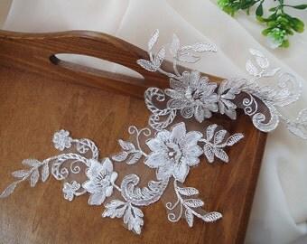 silver alencon lace Applique, bridal headpiece applique,