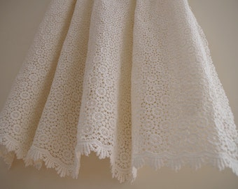 ivory cotton Lace Fabric, cotton crocheted lace fabric, antique style lace fabric, guipure lace fabric