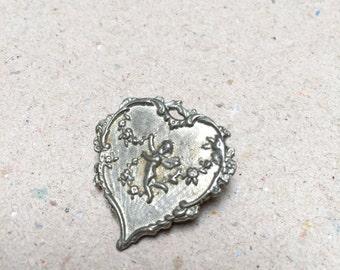Small Vintage Cherub Heart Brooch (retro valentine love anniversary silver cute little angel pin)