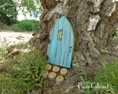 Teal Fairy Door on Rustic Reclaimed Wood Tooth Fairy Door Miniature Distressed Art Acrylic Painting on Wood