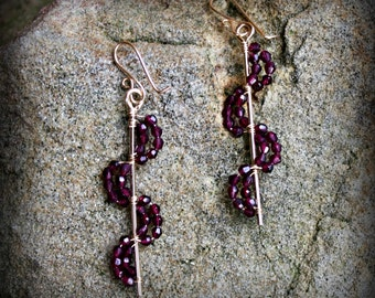 Helix Earrings, Handmade Spirals of Faceted Garnet, 14k gold filled Wire Wrapped Earrings, Hostess Gift, Bridesmaid Gift AD1306X