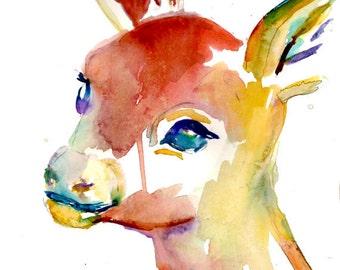 """Original Deer Watercolor Painting, Titled """"Finley the Fawn"""" by Jessica Buhman 11 x 14 original painting, Deer Painting, Deer Art, Baby Deer"""