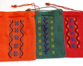 Ethnic Jute Drawstring Pouches with Cross Stitch Embroidery  - Three Colours