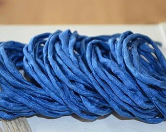 Blue Silk Cord hand dyed silk string for necklace bracelets 2mm