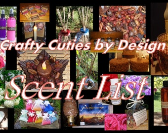 Master Scent Description List for Home Fragrances, Candles, Tarts, Air Fresheners, Reed Oils, Linen Spray, Aroma Beads, Refresher Oil