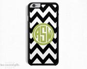 iPhone 5c Case, iPhone 6s Case, iPhone 6s Plus Case, iPhone 5 Case, Black Chevron & Green, Monogram Gift (247)