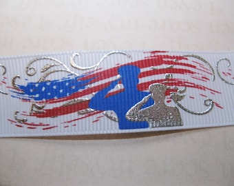 "Military - Memorial - Support Our Troops Grosgrain Ribbon 7/8""  1Yd"