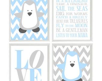 Penguin Nursery Wall Art, Baby Boy Nursery, Chevron Print, Penguin Art, LOVE Poster, Boy Rules Art, Baby Blue Gray Decor, Chevron Penguin