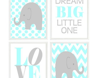 Elephant Nursery Art, Baby Boy Nursery, Chevron Elephant, Aqua Gray, Love Print, Dream Big Little One Quote, Neutral Nursery, Baby Gift