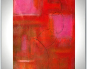 Large Size Abstract Painting Red Pink Tones Wall Art Original acrylic handmade painting on canvas 52x32x1,5 by M.Schöneberg  Unstretched
